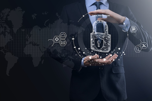 Cyber security network. padlock icon and internet technology networking. businessman protecting data personal information on tablet and virtual interface. data protection privacy concept. gdpr.