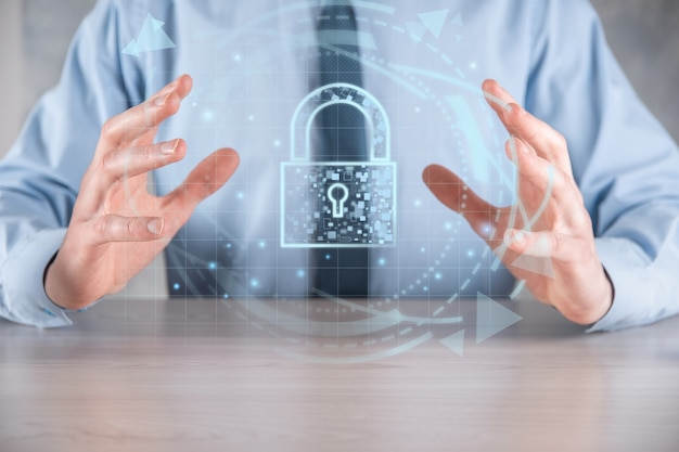 Cyber security network. padlock icon and internet technology networking. businessman protecting data personal information,virtual interface. data protection privacy concept. gdpr. eu.digital crime.