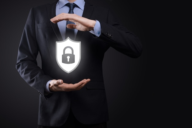 Cyber security network. padlock icon and internet technology networking