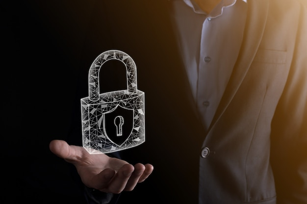 Cyber security network. padlock icon and internet technology networking.
