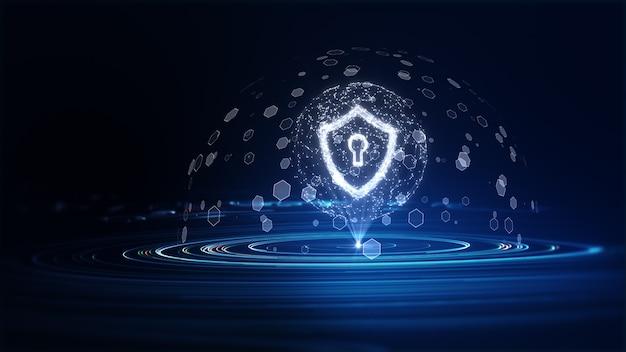 デジタルデータネットワーク保護のサイバーセキュリティ。デジタルデータの背景に鍵穴アイコンでシールド。サイバーデータセキュリティまたは情報プライバシーのアイデア。ビッグデータフロー分析。 3dレンダリング。