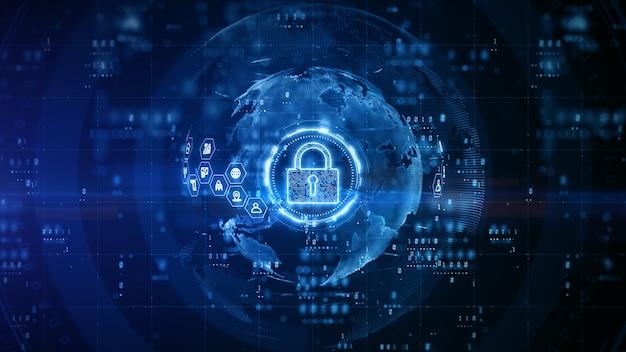 파란색 배경으로 사이버 보안 자물쇠 디지털 디자인
