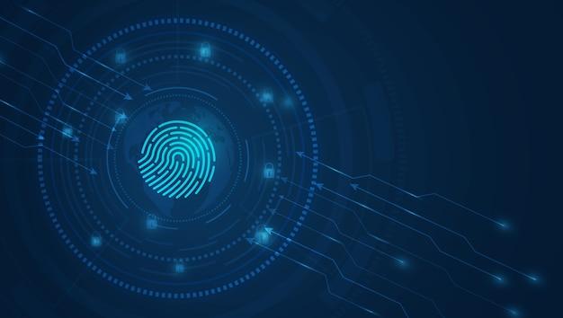 サイバーセキュリティ技術の背景青色の背景にハイテクデジタル技術
