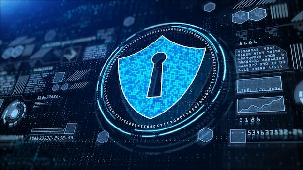 Значок щита cyber security, высокотехнологичная цифровая индикация голографической информации, цифровое киберпространство, технология передачи цифровых данных, концепция будущего фона.