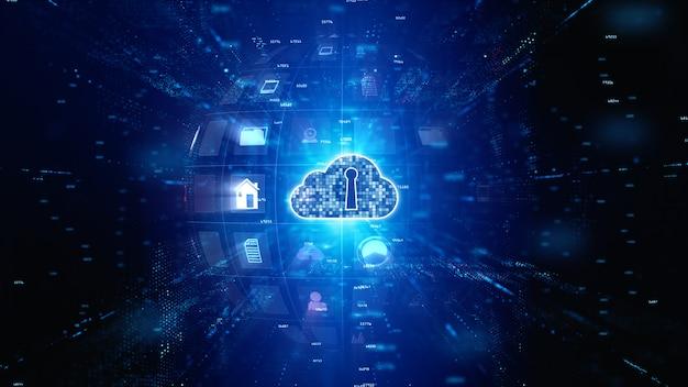 Безопасная цифровая сеть передачи данных. цифровые облачные вычисления cyber security. концепция технологии.