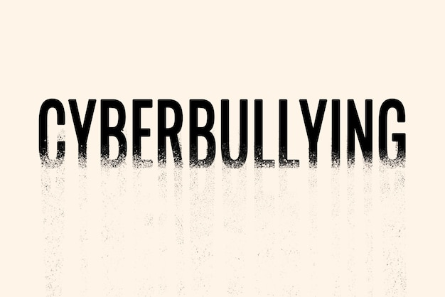Tipografia cyberbullismo in caratteri sbriciolati