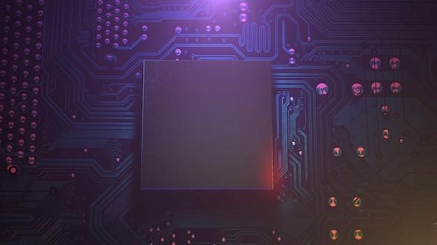 Киберпанк фон с компьютерным чипом и неоновыми огнями