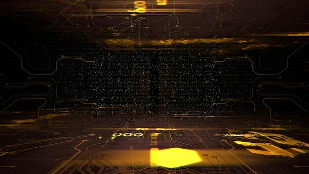 コンピューターチップと数字のサイバーパンクの背景。サイバーパンクとテクノロジーをテーマにしたモダンで未来的な3dイラストスタイル