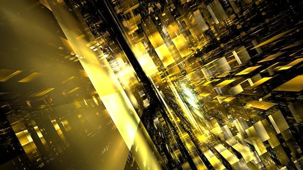 未来のサイバーパンクの建物、空想科学小説、ネオンの光の超高層ビルはネオンの街、未来のスカイファイの大都市を抽象化します。 3dレンダリング