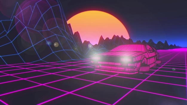 Cyberpunk car in 80s style moves on a virtual neon landscape. 3d rendering.