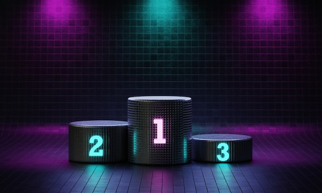 Cyberpunk cylinder winner podium on spotlight background with neon emission number place.