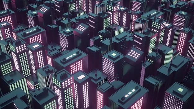 高層ビルのあるサイバーパンクの未来都市。抽象的なアイソメトリック都市。 3dレンダリング。
