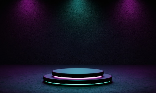 Cyberpunk product podium platform studio with blue and violet spotlight and grunge style textured background