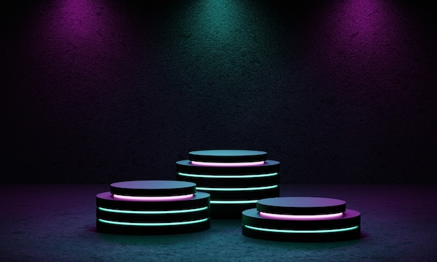 Cyberpunk product podium platform studio with blue and violet spotlight and grunge style textured background.