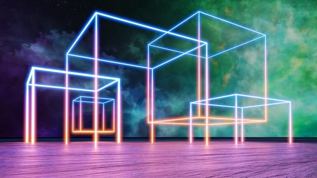 Киберпанк виртуальная реальность пейзаж 3d визуализации