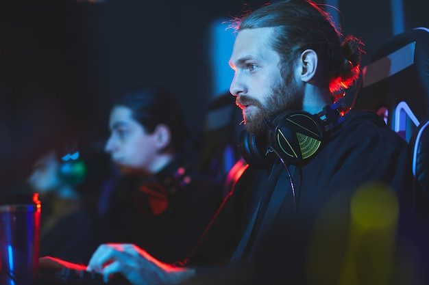 Cybersport gamers having live stream
