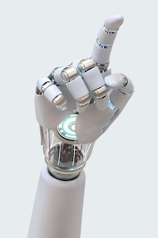Cyborg hand 3d pointing, technology of artificial intelligence