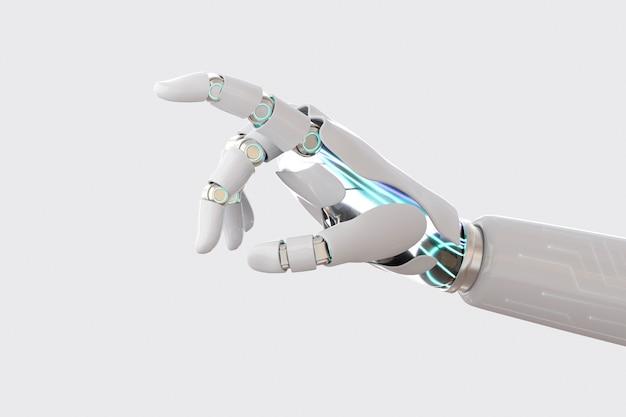 Fondo del dito della mano del cyborg, tecnologia dell'intelligenza artificiale