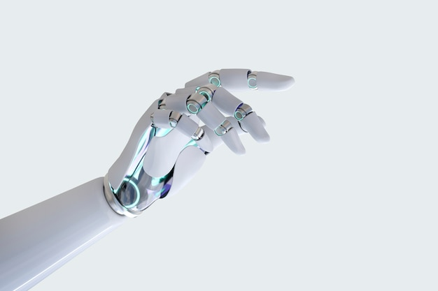 Cyborg hand finger pointing background, technology of artificial intelligence