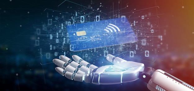 非接触型クレジットカード支払いコンセプト3 dレンダリングを持つサイボーグの手