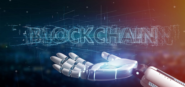 Cyborg hand holding a blockchain title