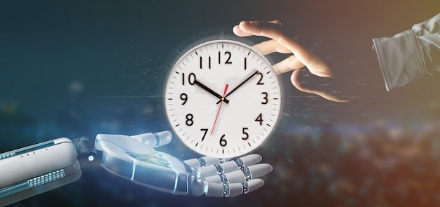 Cyborg hand holding a clock timer 3d rendering