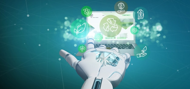 Cyborg hand holding a cloud of green ecology icon bubble with a laptop 3d rendering