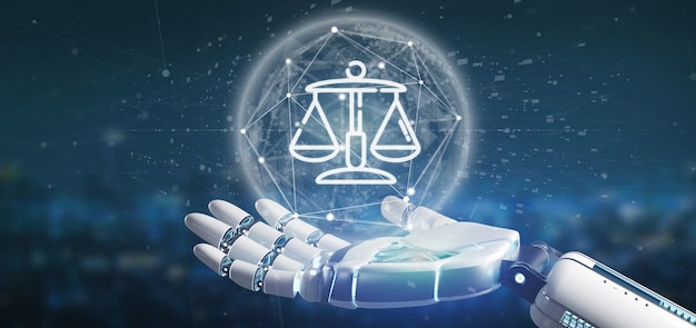 Cyborg hand holding cloud of justice and law icon bubble with data 3d rendering