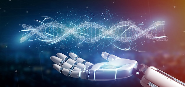 Cyborg hand holding a dna branch 3d rendering