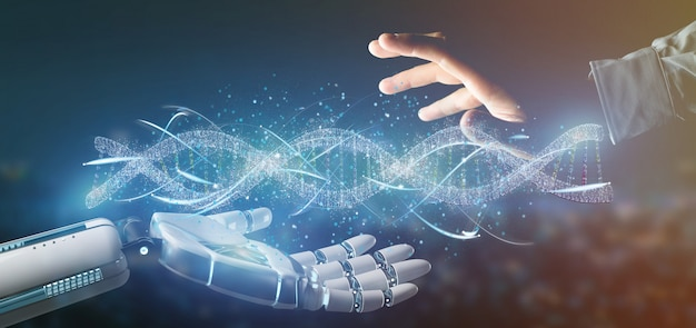 Cyborg hand holding a dna branch