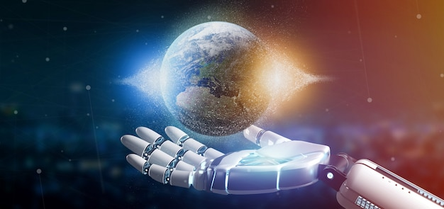 Cyborg hand holding a earth globle particles