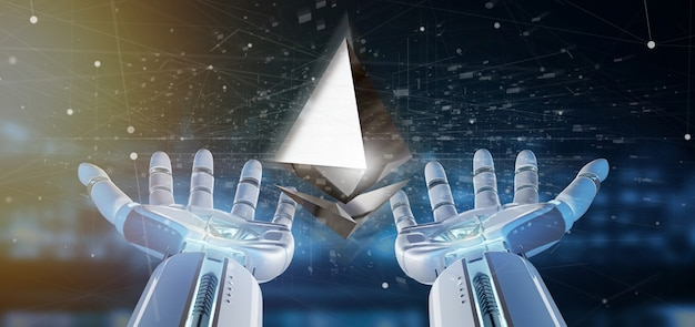Cyborg hand holding a ethereum crypto currency sign flying around a network connection