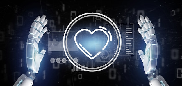 Cyborg hand holding a heart icon surrounded by data