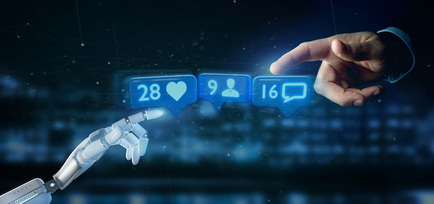 Cyborg hand holding like, follower and message notification on social network -
