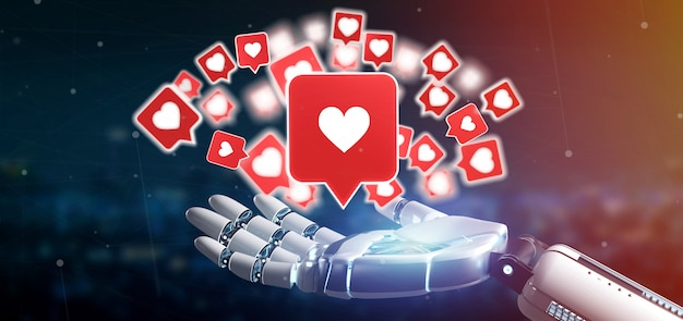 Cyborg hand holding a like notification on a social media