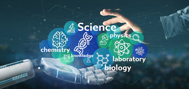Cyborg hand holding science icons and title