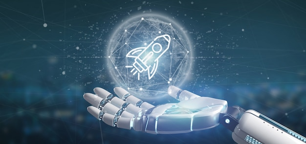 Cyborg hand holding a  start up rocket on a sphere 3d rendering
