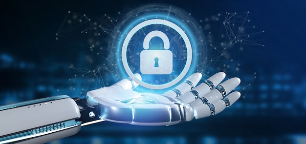 Cyborg hand holding a technology security icon on a circle