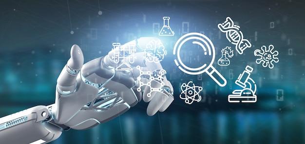 Киборг держит икону облака науки