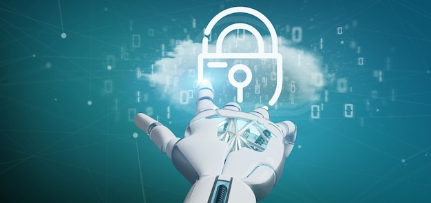 Cyborg holding a binary cloud with internet security padlock 3d rendering