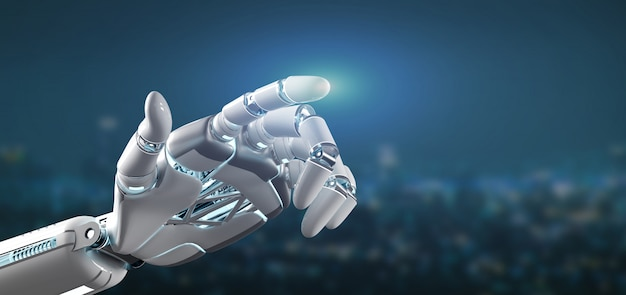 Cyborg robot hand on a city background 3d rendering