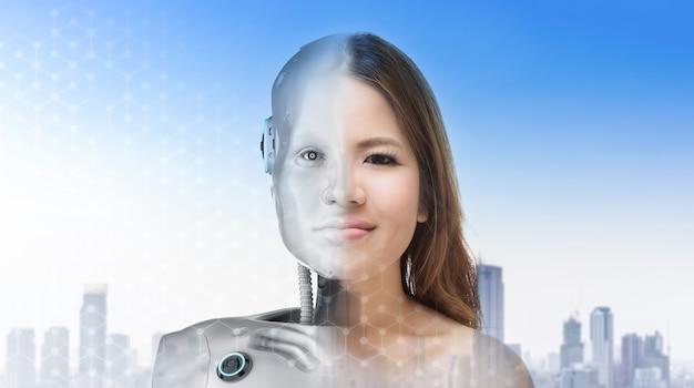 인간 내부 로봇과 사이보그 여자 또는 사이보그 소녀 개념