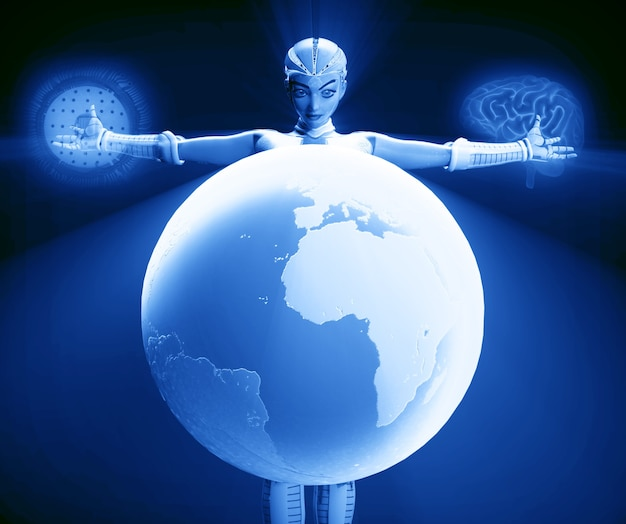 Cyborg woman with the world close up with brain background and blue microchip