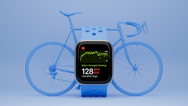Cycling concept blank screen blue smartwatch mock up with blue bicycle in the back blue background