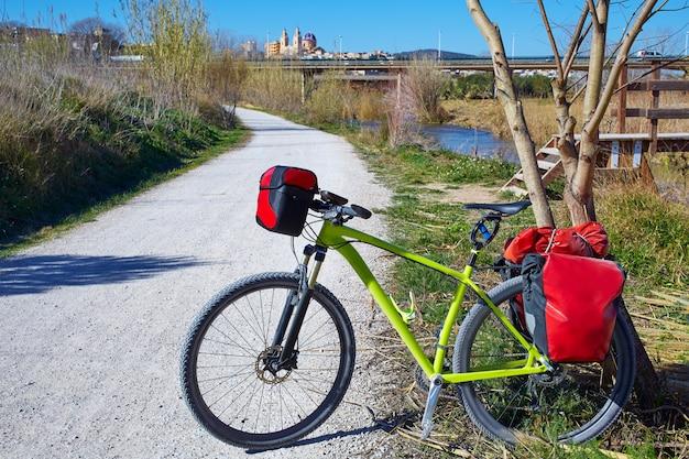 Cycling tourism bike in ribarroja parc de turia