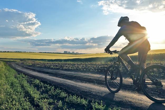 日光の下で小麦畑に沿って自転車に乗るサイクリスト