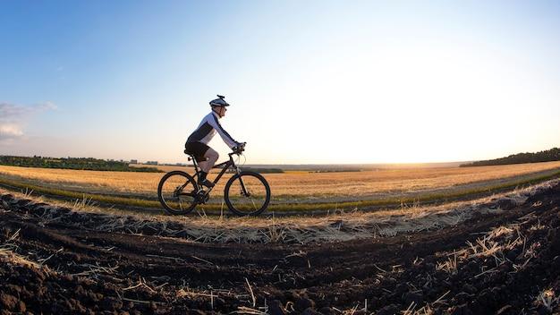 자전거를 탄 자전거 타는 사람은 햇빛 아래 밀밭을 따라 탄다