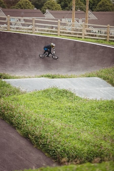 Cyclist riding bmx bike