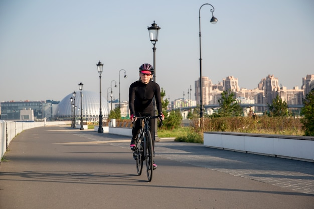 Cyclist training in city park