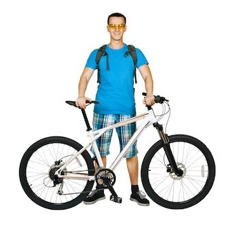 흰색 절연 산악 자전거와 자전거